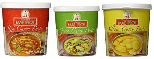 Mae Ploy Red Curry Paste, Green Curry Paste and Yellow Curry Paste Set. Great Cooking gifts - PACK OF 2