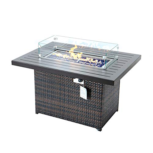 Gas Fire Pit for Outside Hand-woven PE Wicker Firepit table 44inch 55000BTU Propane fire pit with Aluminum Tabletop & Blue Stone Fire Pit Table with CSA Certification (44'' With Wind Glass, Brown)