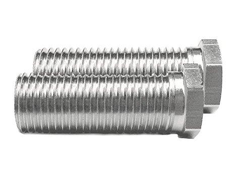 Keenberk - Kurze Hohlschraube für Siebkorbventile - universell passend für Ventilabläufe mit 1,5 und 3,5 Zoll - 2 Stück - 25 mm lang - M12 x 1,5 mm