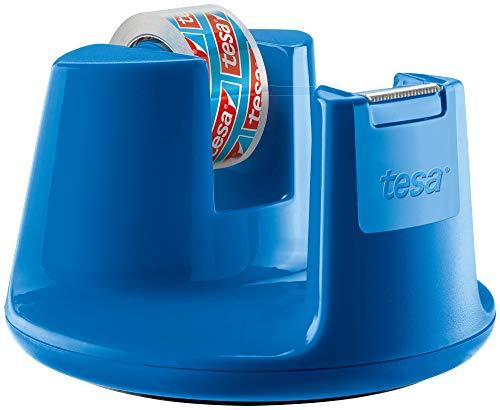 tesafilm Tischabroller Compact - Klebebandspender mit Anti-Rutsch-Boden für sicheren Halt - Mit transparenter Kleberolle 10 m x 15 mm - Blau