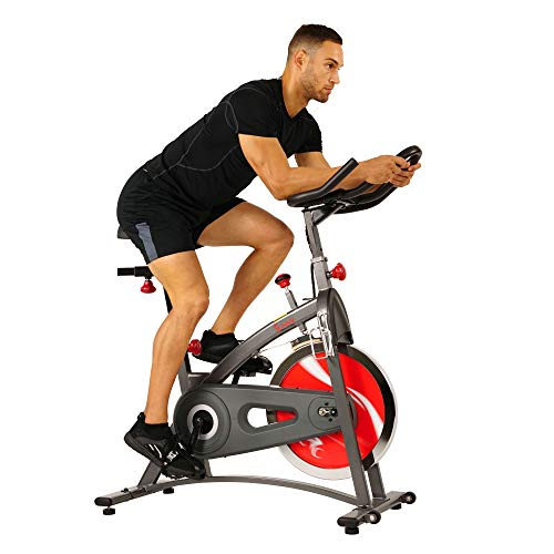 Sunny Health & Fitness Spin Bike Belt Drive Indoor Cycling Bike with LCD Monitor, 40 lb Chrome Flywheel, 265 lb Max Weight - SF-B1423