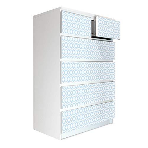 banjado Möbelaufkleber passend für IKEA Malm Kommode 6 Schubladen | Selbstklebende Möbelfolie | Sticker Tattoo perfekt für Wohnzimmer und Kinderzimmer | Klebefolie Motiv Spitze Ovale