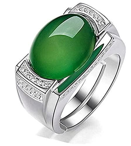 GJPSXTY Vintage Esmeralda Ágata Verde Jade Piedras Preciosas Diamantes Anillos para Hombres Oro Blanco Plata Color Argent Joyería Bague Anillos Arabia