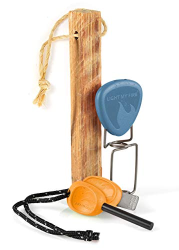 Light My Fire Pedernal Supervivencia - Kit Fuego 3 in 1 Encendedor Magnesio, Encededor de Madera Natural y Pinchos Barbacoa - Ferrocerio Supervivencia - Encendedores de Acampada, BBQ, Fogata