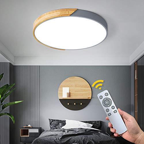 NEWSEE LED Deckenleuchte mit Fernbedienung Moderne Deckenlampe Dimmbare Wohnzimmer Kalt bis Warmwei 24W Kinderzimmer Lampe Esszimmerlampe Schlafzimmerlampe Flurlampe(Grau, 40cm,24W)