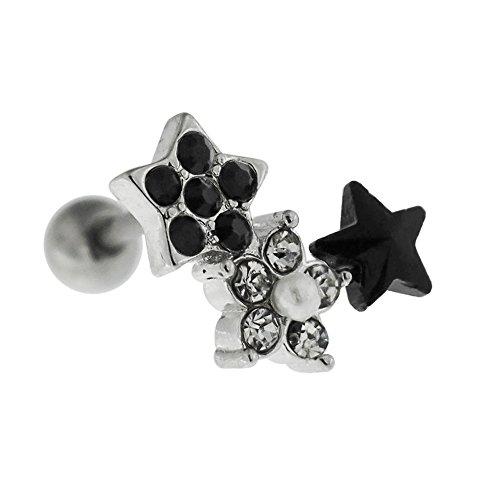 Multi Crystal steen en parel ster met bloem 16 gauge 316L chirurgisch staal tragus kraakbeen helix piercing