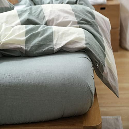 IKITOBI Lujosa sábana bajera ajustable de percal de alta calidad, teñida, fácil cuidado, súper suave, 240 x 250 cm