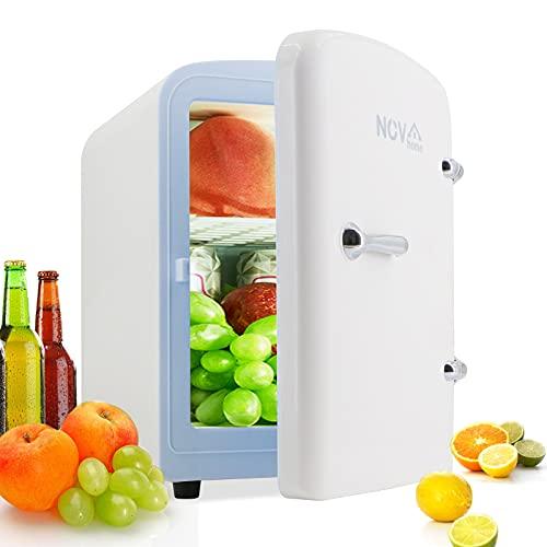 Novhome Mini Nevera 4 litros portatil ligero con función de Calentamiento Frigorífico pequeña AC/DC 12V 45W Minibar Congelador para Cosméticos Oficina Car Cámping (Blanco)