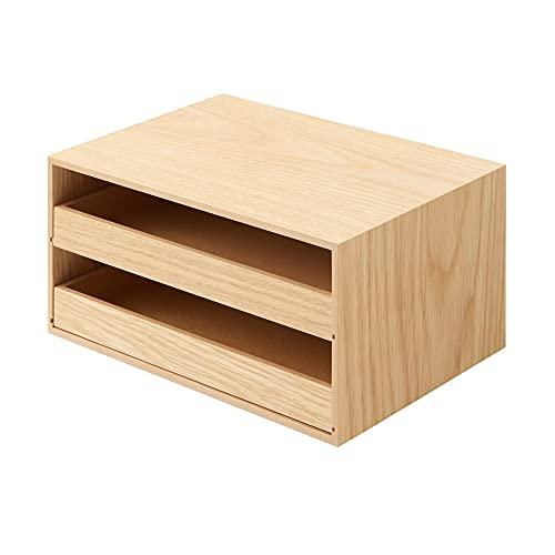 無印良品 木製トレー収納2段引出 約幅25.2x奥行17x高さ12.6cm 44310229