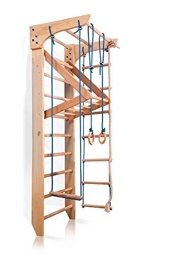 Sportgerät Kletterwand Klettergerüst Fitness Kinder-4-220 Holz Sprossenwand mit Stange Turnwand Kinder Gym