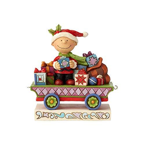 Enesco Peanuts by Jim Shore Charlie Brown Christmas Train Figurine, 4.72', Multicolor