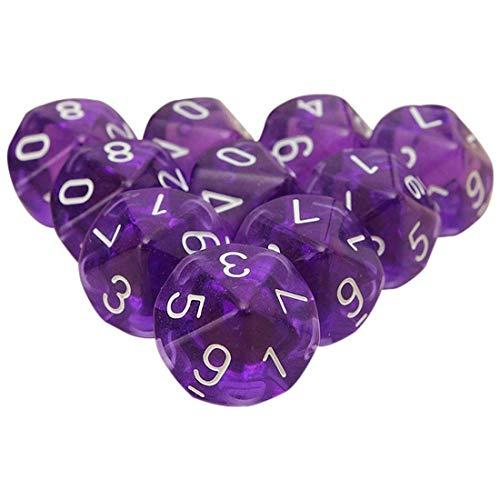 Febbya Dés Polyédriques,10 Pack Polyédrique Jeu de Dés de D10 pour MDG MTG RPG Donjons et Dragons Role Playing Dice Dat de Jeu Violet Colorés