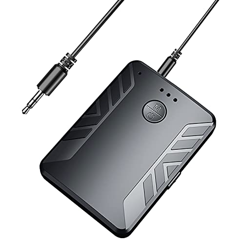 Bluetooth para TV, Transmisor y Receptor Bluetooth 5.0 Baja Latencia con Cable Auxiliar 3.5mm Jack, Adaptador Audio Bluetooth para TV, Coche, Altavoz,PC, Música, Auriculares,Radio