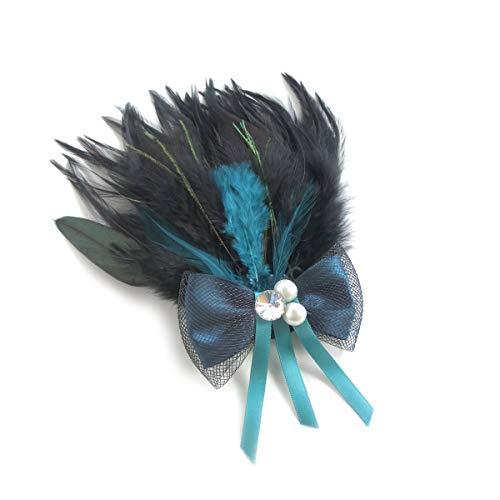 羽ブローチ フェザーブローチ ヘッドドレス カラーフェザーとパール&リボン スワロ付 ピンとクリップ付き ブローチ ターコイズグリーンorダークピンク (B.グリーン×水色系)