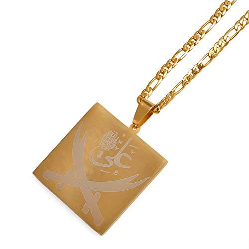 VAWAA Imam Ali Schwert Anhänger Halskette Für Frauen/männer Muslim Islam Allah Schmuck Gold Farbe Arabische Messer Großhandel 45cm