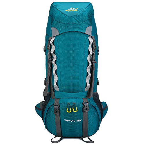 BESTECHMAN 2020最新版 バックパック 多機能 登山リュック 60L 大容量 リュックサック アウトドアリュック 背中通気 軽量 撥水加工 男女兼用 旅行用バッグ 防災 (緑, 60L)