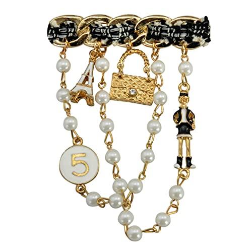Broche de perlas trenzadas de tela de moda para las mujeres de moda de la capa de enlace pines colgantes estilo broche de verano joyería
