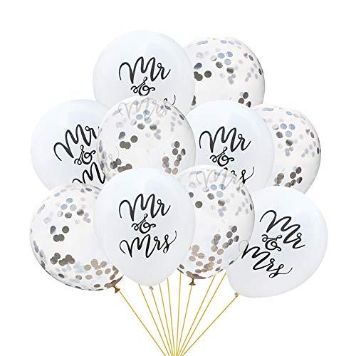 Tumao 10 Stück Mr.& Mrs Latexballon Konfetti Luftballons, Ideal für Hochzeit, Junggesellinnen-Abschied, Hen Party, Hochzeits-Deko. (Silber)