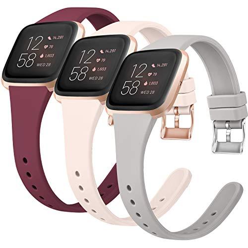 Vancle 3 Pack Kompatibel für Fitbit Versa Armband/Fitbit Versa 2 Armband/Fitbit Versa Lite Armband, Weiches Silikon Schlank Ersatz Armband für Fitbit Versa/Versa 2/Versa Lite (S, Weinrot/Grau/Rosa)