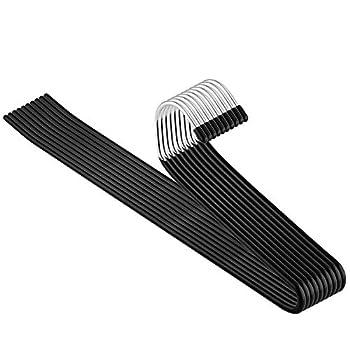 Corodo 10 Pack Slack Trouser Hangers Open Ended Easy Slide Metal Pants Hangers Non Slip Rubber Coating Space Saving Organizers
