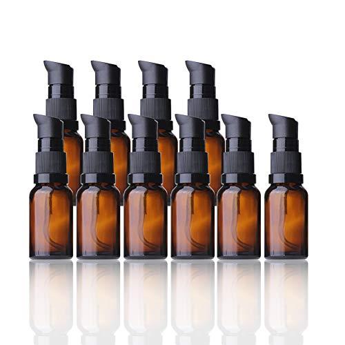 Amorar 5Pcs Bouteilles d'huile Essentielle Bouteille en Plastique avec Pompe Récipient Bouteille de Distributeur de Lotion Bouteilles de Voyage Emballage Cosmétique Bouteilles de liquides 10 à 100ml