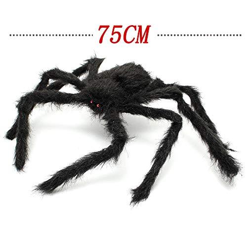 3 Pezzi Halloween Creepy Giant Spider Decor, 75cm Spaventoso Grande Ragno Realistico Peloso per Interni, Esterno, Finestra, Tetto, Albero, Cortile, Decorazione Festa in Costume (Nero)