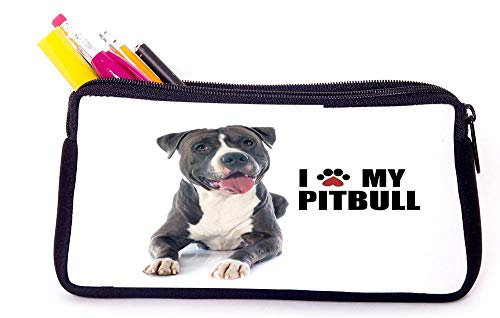 Paw Print I Love My - Pitbull - Black Pencil Case for School Supplies for Office Supplies, Gameboy DS, MP3, or Makeup Supplies