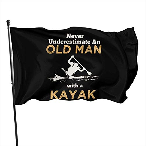 Viplili Never Underestimate an Old Man with A Kayak Home Bandera del jardín for Outdoor House Porch Welcome Holiday Decoration, Fit Chritmas/Birthday/Happy New, 3x5ft