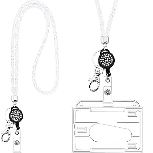 Kristall Umhängeband Halskette mit Transparent ID Karten Halter und Schlüsselring, Bling Strass Kristall Umhängeband Klar Abzeichen Halter und Halsband für ID Abzeichen (Weiß)