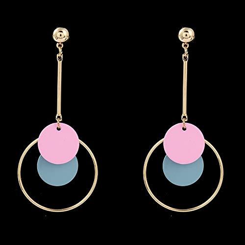 YIJTE orecchino Lady Simple Blue Round Round Hollow Pendant Orecchini Geometrici Gioielli Quadrato in Metallo esagerato Lusso (Metal Color : N16)