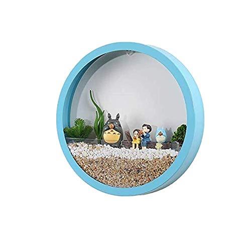 Maceta redonda de cristal de 15,24 cm, color azul, macetero de metal de hierro para colgar en la pared, maceta de aire suculenta, soporte de pared moderno para decoración de pared interior vertical