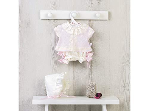 ASIVIL Vestido Muñeca 43 cm. Conjunto Bebé Punto Rosa Puntillas 3364580