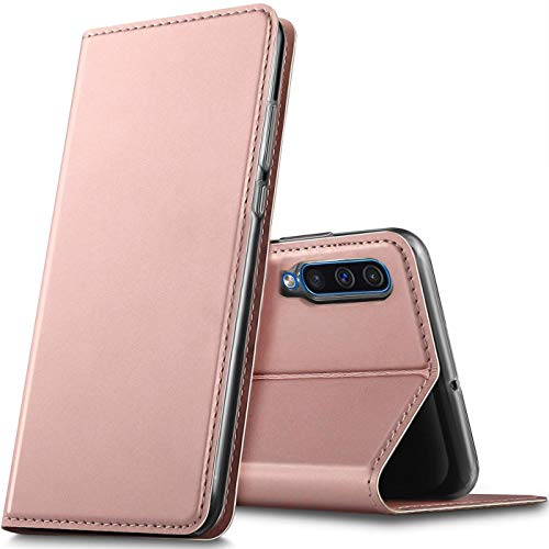 Verco Handyhülle für Samsung Galaxy A90 5G, Premium Handy Flip Cover für Galaxy A90 5G Hülle [integr. Magnet] Book Hülle PU Leder Tasche, Rosegold
