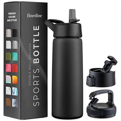 Triple Insulated Stainless Steel Water Bottle with Straw Lid - Flip Top Lid - Wide Mouth Cap (26 oz) Insulated Water Bottles, Keeps Hot and Cold - Great for Hiking & Biking (Inky Raven Black)