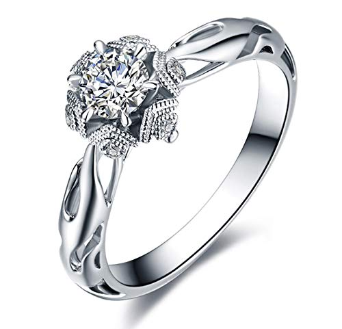 KnSam 18K Oro Blanco Anillo, Anillo de Bodas Copo de Nieve Hueco, Diamante Blanco, Color Oro Blanco, 0.5ct - Talla 26