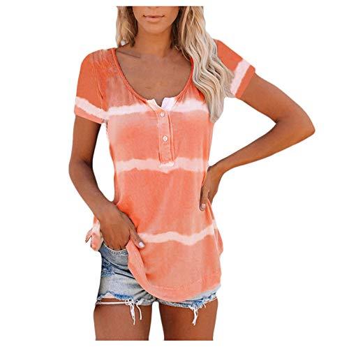 Blusa para mujer, tallas grandes, blusa, suelta, para verano, camiseta para mujer, camiseta de manga corta, cuello en V, top degradado, naranja, XL