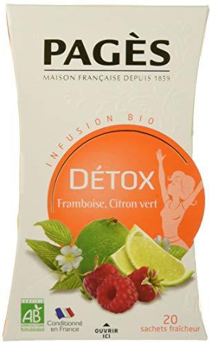 Pagès Infusion Bio Détox Framboise/Citron Vert - boîte De 20 Sachets