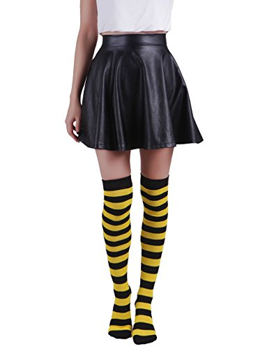 (black&yellow) - Women's Extra Long Striped Socks Over Knee High Opaque Stockings (Black & Yellow)