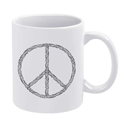 Divertida taza blanca, símbolo de la paz, diseño de personalidad y materiales respetuosos con el medio ambiente son saludables e insípidos, como regalo para familiares y amigos