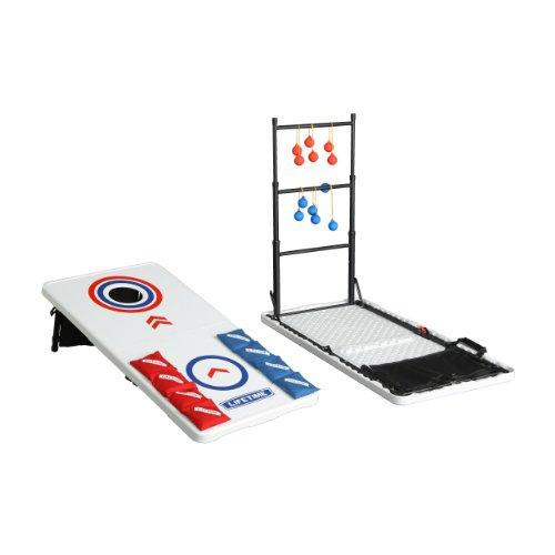 LIFETIME Unisex-Erwachsene Heavy Duty Outdoor Cornhole Ladderball Spiel und Tisch Combo Set, Weiß, 48 x 24 x 27.5 inches 48 Pounds
