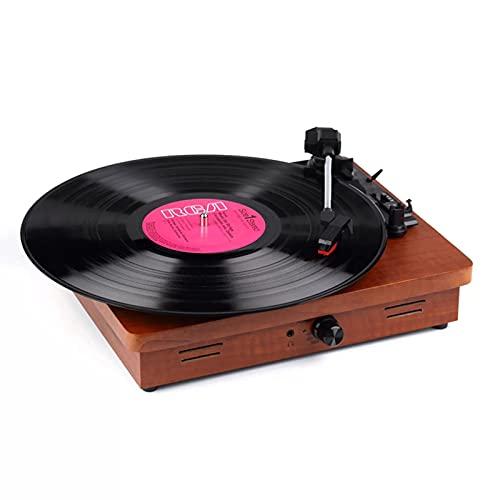 LANGTAOSHA Tocadiscos De Vinilo Bluetooth con Altavoces Estéreo Integrados, 3 Velocidades 33 45 78 RPM Tocadiscos Retro Portátil Fonógrafo De Madera, Marrón