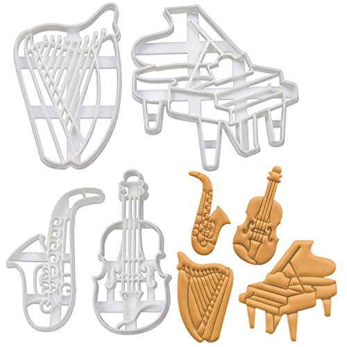 4er Set Musikinstrumente Ausstechformen (Formen: Harfe, Konzertflügel, Saxophon, Geige), 4 Teile, Bakerlogy