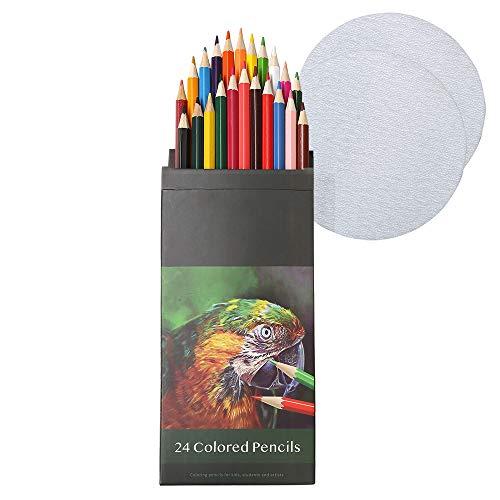 Vorgespitzte ölige Buntstifte set| 24 bunte bleistift set| zeichenstifte professionell set| Enthält spezielles Schleifpapier zum Schärfen der Spitze| Farbstifte dicke|