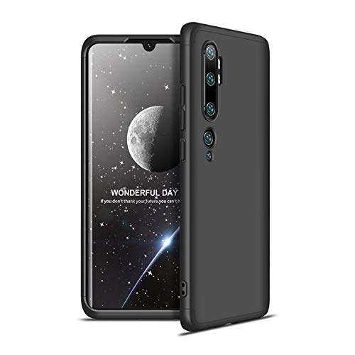 Capa Capinha Anti Impacto 360 Para Xiaomi Mi Note 10 e Note 10 Pro Tela De 6.47Polegadas Case Acrílica Fosca Acabamento Slim Macio - Danet (Todo preto)