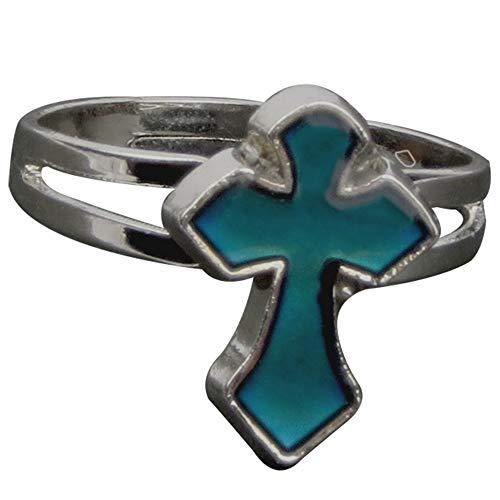 Adjustable Color Changing Mood Ring Inspirational Mystique Marble (Cross, Adjustable)