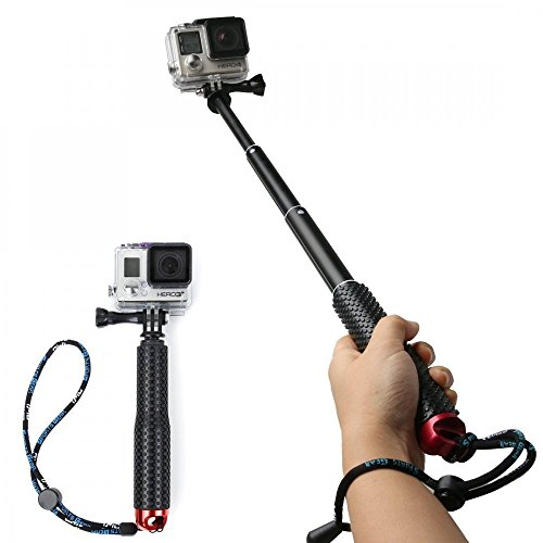 Legazone Waterproof Hand Grip Adjustable Extension Selfie Stick Handheld Monopod for GeekPro/Gopro HD Hero 5 4 3+ 3 2 1 SJCAM SJ4000 SJ5000 Xiaomi Yi(with Wrist Strap and Screw)
