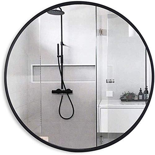 NYDZDM moderne stijlvolle ronde muur spiegel, grote muur Vanity scheerspiegel voor badkamer, hal, woonkamer, kwaliteit glas, Zwart, Φ80cm (31.5in)