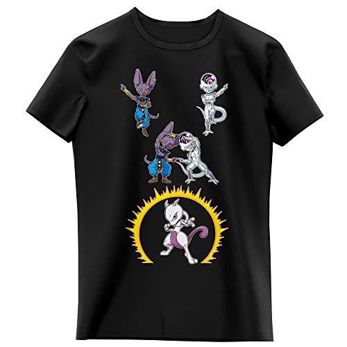 Okiwoki T-Shirt Enfant Fille Noir Parodie Dragon Ball Super - Pokémon - Beerus, Freezer et Mewtwo - Fusion féline. (T-Shirt Enfant de qualité Premium de Taille 7-8 Ans - imprimé en France)