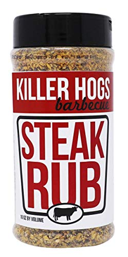 Killer Hogs Steak Rub | Championship BBQ and Grill Seasoning for Beef, Steak, Burgers, and Chops | Salt, Pepper, Herbs, and Spices | 16 oz