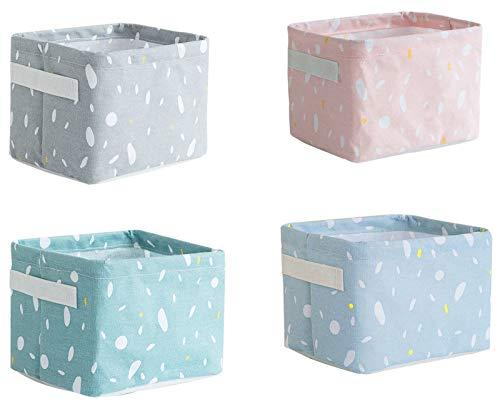 ASFINS Wickeltisch Organizer, 4 Stück Aufbewahrungskorb Kinder Stoffaufbewahrungskörbe Aufbewahrungsbox, mit 2 Griffen auf Beiden Seiten, Leinen und Stoff Boxen (20 x 14 x 15,5cm) -B001